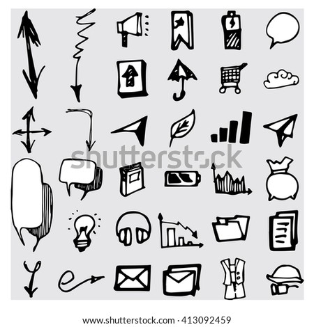 Hand drawn seamless doodle pattern with business symbols - stock vector