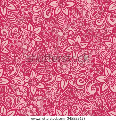 Hand drawn seamless Flower pattern. Doodle style.