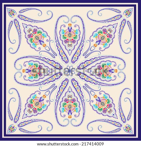 Hand drawn seamless folk pattern in indigo and ecru colors,pillow motif - stock vector