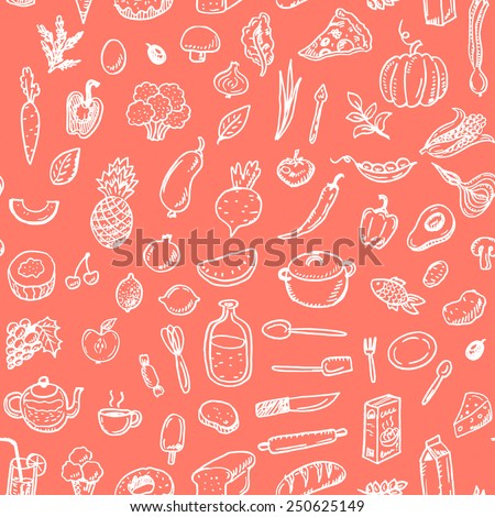 Hand drawn seamless food pattern. - stock vector