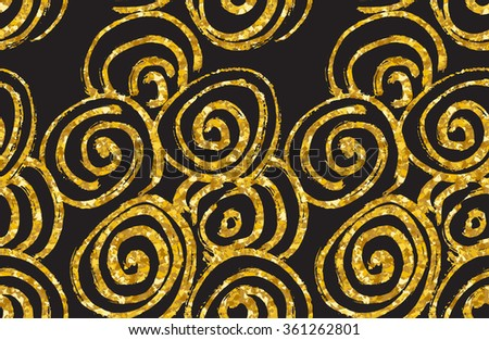 Hand drawn seamless gold glitter pattern. abstract spiral seamless pattern, vector illustration. - stock vector