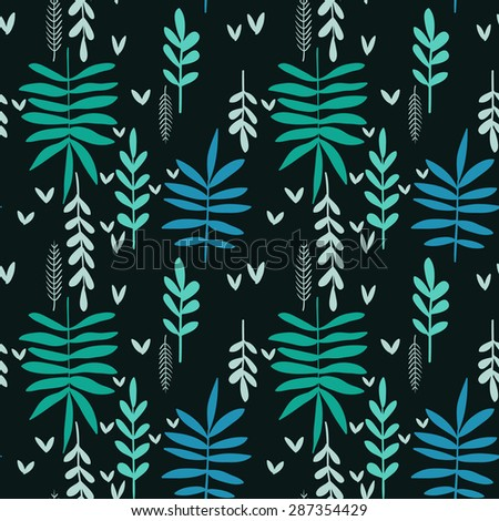 Hand-drawn seamless green leaf pattern on black background, decorative floral texture - stock vector