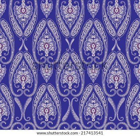 Hand drawn seamless indigo folk pattern in dark indigo color - stock vector