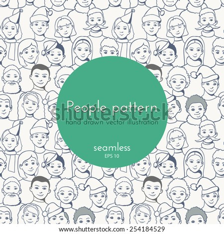 hand drawn seamless pattern. different group of people - stock vector