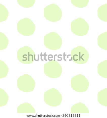 Hand drawn seamless pattern green polka dots. Vector - stock vector