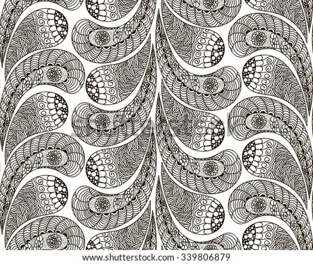 Hand drawn seamless pattern in doodle art style Black and white decoration for cards,wedding invitations, congratulations, branding, label, poster, banner, template . Vector illustration