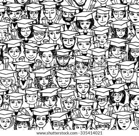 Hand drawn seamless pattern of a group of cartoon students with graduation caps and their degree in their hands - black and white illustration - stock vector