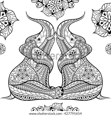 Zentangle Elephant Design Coloring Pages Coloring Pages