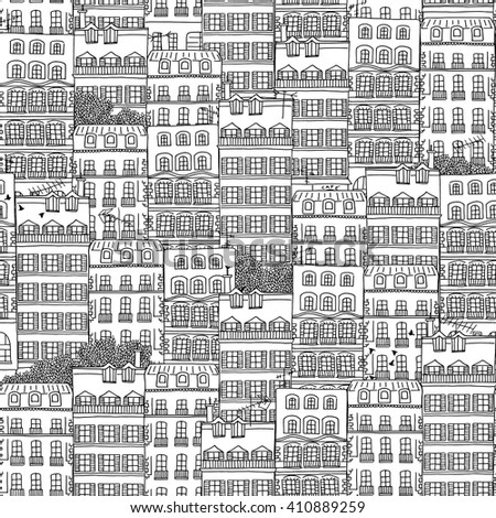 Hand drawn seamless pattern of French style houses - stock vector