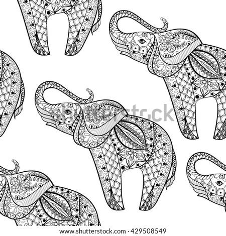 Vector Illustration Tribal Totem Animal Elephant Stock Vector ...