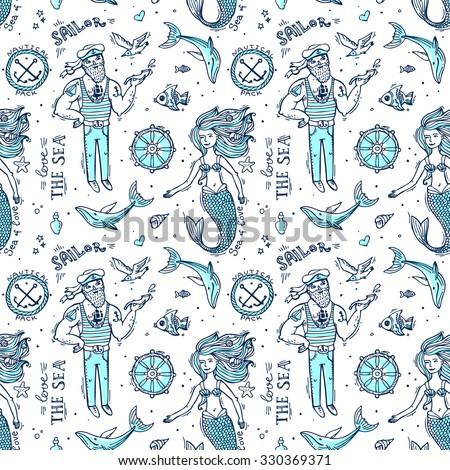 Hand drawn seamless pattern sailor and mermaid. Doodle native drawing. - stock vector
