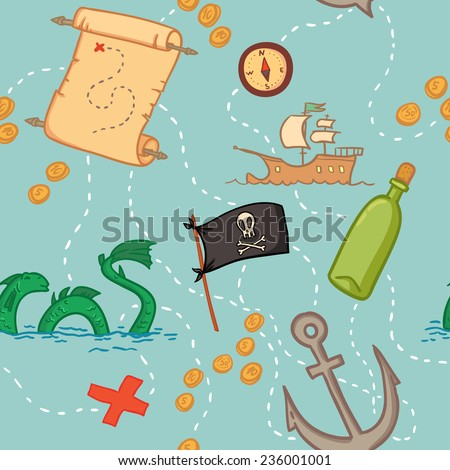 Hand drawn seamless pattern - treasure map.  - stock vector