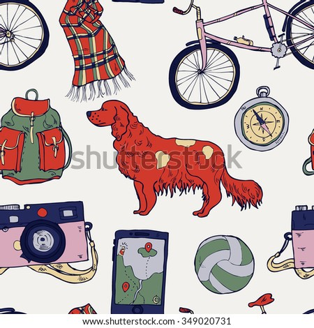 Hand drawn seamless pattern with a dog and adventure elements in vector - stock vector