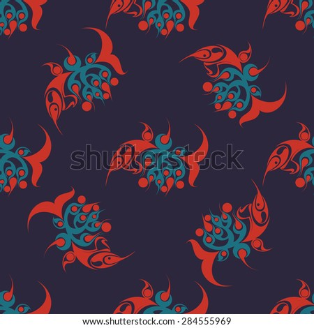 Hand drawn seamless pattern with abstract fish. Vector line art.
