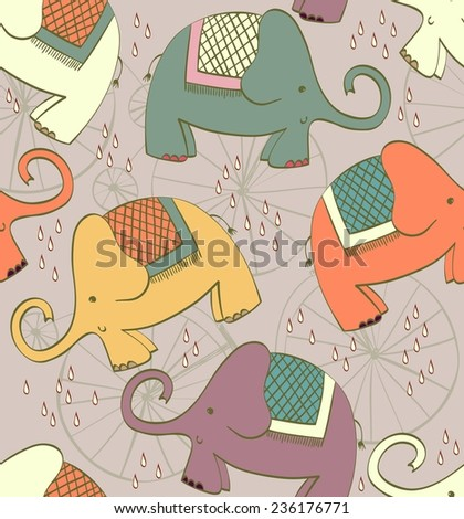 Hand drawn seamless pattern with cartoon elephant. - stock vector