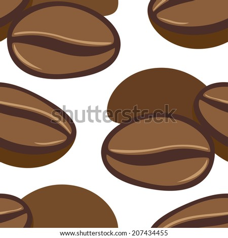 Hand drawn seamless pattern with coffee beans. Vector illustration. - stock vector