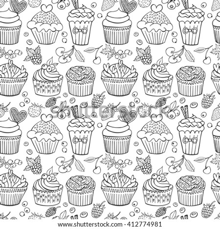 Hand drawn seamless pattern with cupcakes and berries. Sweet vector set in vintage style. Vector sketch illustration, doodle elements. Sweet dessert menu. - stock vector
