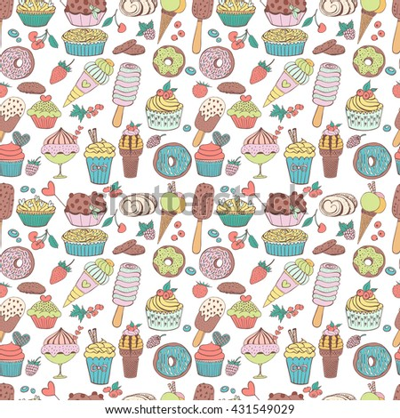 Hand drawn seamless pattern with cupcakes, berries, ice cream and donuts. Doodle elements, vector illustration. Sweet and cold dessert menu.