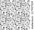 Hand drawn seamless pattern with cute kitty - stock vector