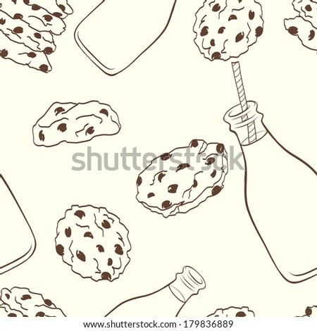 Hand drawn seamless pattern with doodle cartoon chocolate chip cookies and bottle of milk on light background. - stock vector