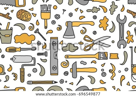 hand drawn seamless pattern with doodle construction tools wrench bolt scissors hammer - Home Building Tools
