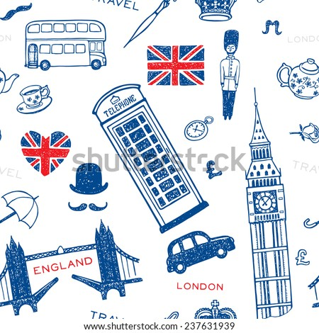 Hand drawn seamless pattern with England symbols and landmarks. London set. - stock vector