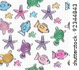 hand drawn seamless pattern with funny colored marine life - stock vector