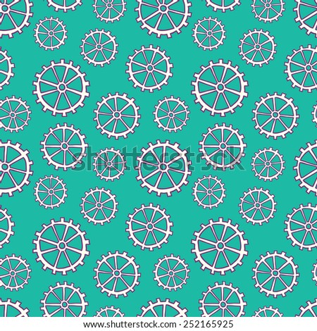 Hand drawn seamless pattern with gears. Seamless pattern can be used for wallpaper, pattern fills, web page background, business, surface textures. Vector pattern. - stock vector