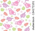 hand drawn seamless pattern with hearts and lips traces - stock vector