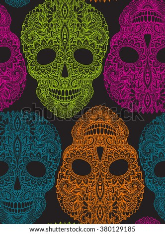 Hand drawn seamless pattern with human skulls in ornate zentangle style. Colorful vector floral skull background  - stock vector