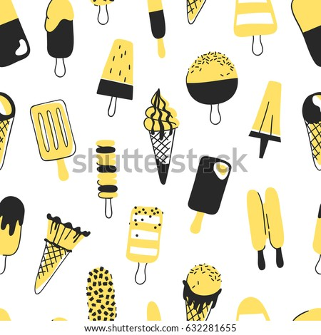 Hand drawn seamless pattern with ice cream. Vector artistic drawing food. Summer fashion illustration