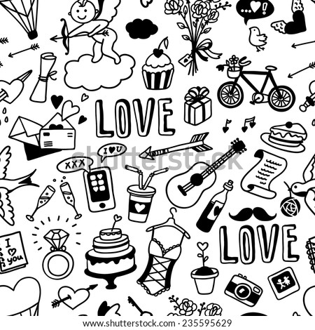 hand-drawn seamless pattern with love doodles - stock vector