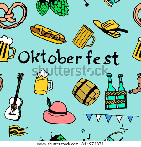 Hand drawn seamless pattern with oktoberfest symbols isolated on grey removable background. Barrel, hop, beer, hat, sausage, snack. Perfect for web design, menu, surface texture, textile, pattern