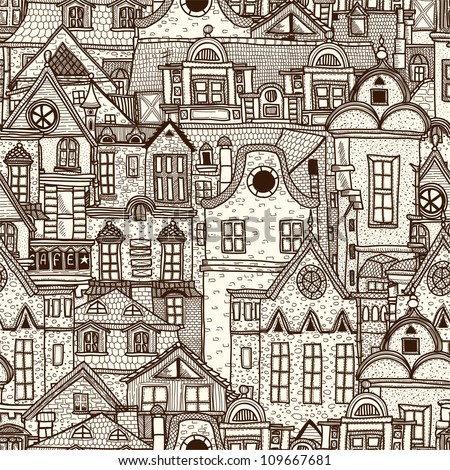 Hand-drawn seamless pattern with old town - stock vector