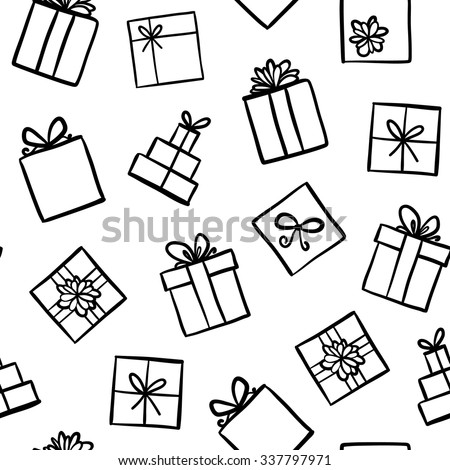 Hand drawn seamless pattern with outline gifts with bows in cartoon style. Doodle thin line gift box texture with different bows. Gift wrap, package. Doodle gift box wallpaper on white background.