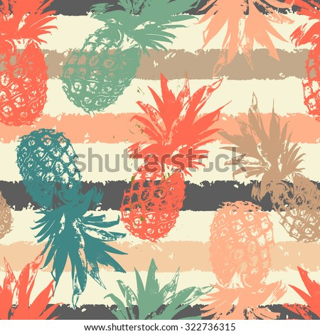 stock vector hand drawn seamless pattern with pineapple in vector 322736315 - Каталог — Фотообои «Еда, фрукты, для кухни»