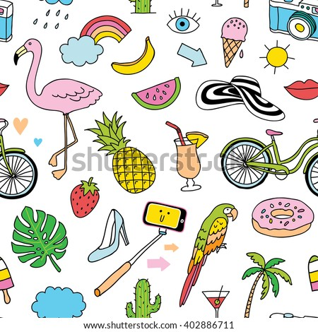 hand-drawn seamless pattern with summer doodles - stock vector