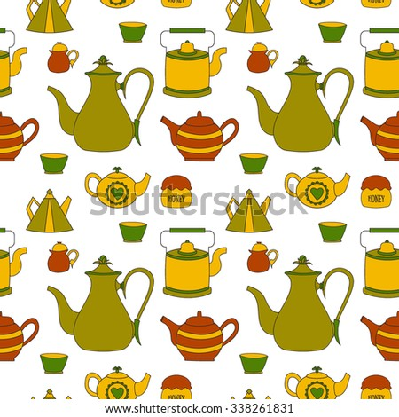 Hand drawn seamless pattern with tea time elements. Tea pots, cups, honey.  For card, invitation, decoration, wrapping paper, cafe, menu. Abstract cute colorful background. Vector illustration.