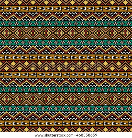 Hand drawn seamless pattern with tribal aztec motives.