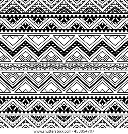 Hand Drawn Seamless Pattern Tribal Aztec Stock Photo (Photo, Vector ...