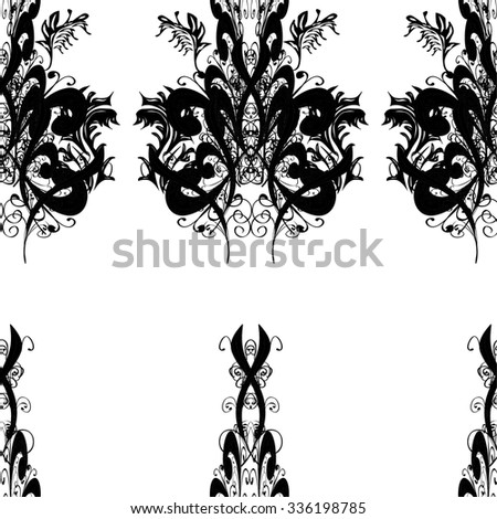 Hand drawn seamless pattern with various elements, flowers, branch on white background and black silhouette - stock vector