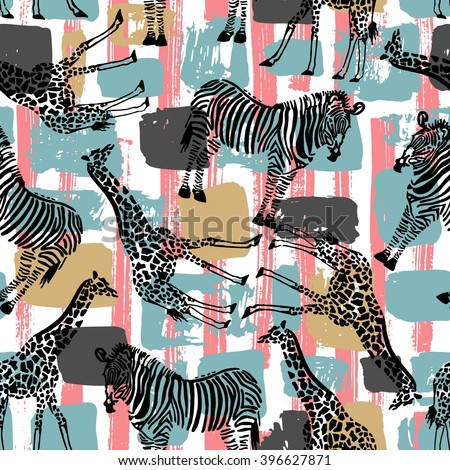 Hand drawn seamless pattern with zebra and giraffe on geometrical background. Use it for fabric print, or different endless textures. - stock vector