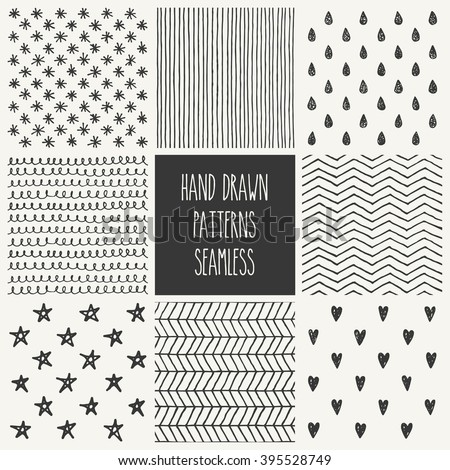 hand drawn seamless patterns collection. vector illustration - stock vector