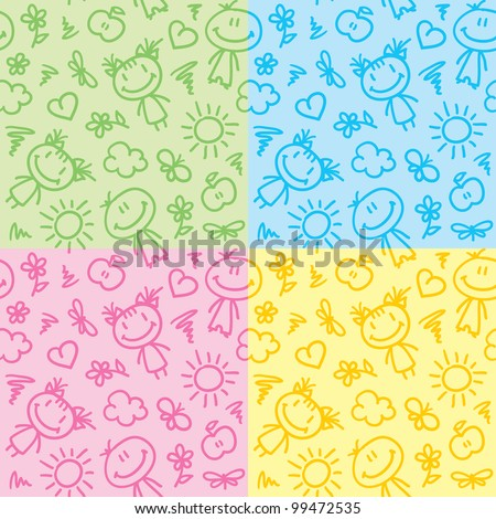 hand drawn seamless patterns with kids and summer symbols