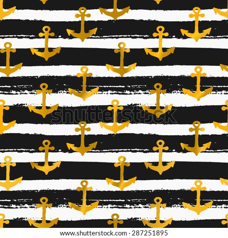 Hand drawn seamless repeat pattern with golden anchors on black and white striped background. - stock vector