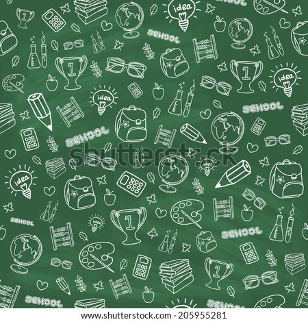 Hand drawn seamless school background. Chalk board doodle effect. Back to school concept. Vector illustration. - stock vector