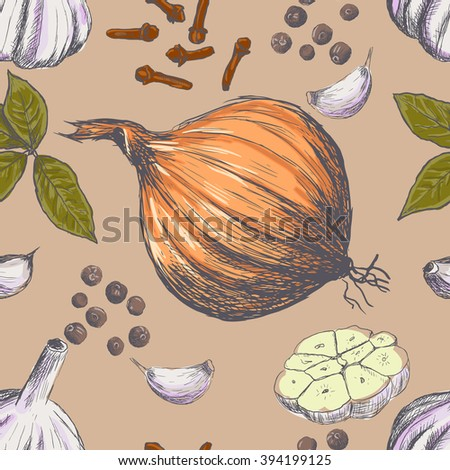 Hand drawn seamless set of organic spices. Vector illustration - stock vector