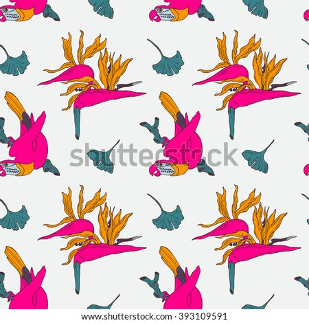 Hand drawn seamless tropical pattern with bright parrot in vector - stock vector