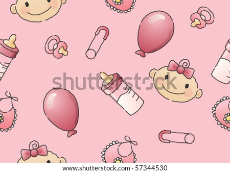Hand-drawn seamless vector illustration of a baby's head and baby items. - stock vector