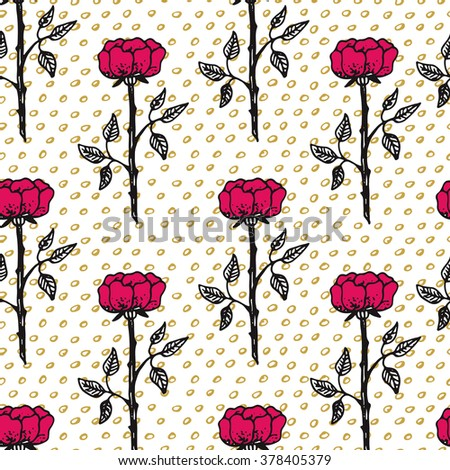 Hand drawn seamless vintage pattern. Vector background, retro style.